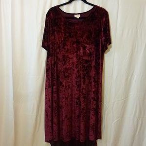 ♥ LuLaRoe Carly Dress 3X Burgendy Crushed Velvet ♥